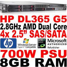 HP ProLiant DL365 G5 Rack Server AMD Dual Core 2.8GHz 8GB RAM E200 SAS/SATA RAID