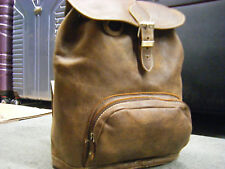 Vintage  Roots Canada Brown All Leather BEAUTIFUL Backpack Preppy Classic EUC