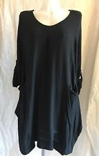 NEW LADIES ITALIAN LAGENLOOK V NECK PLAIN COTTON JERSEY POCKET TUNIC TOP 48""