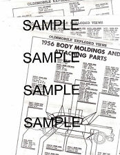 1956 OLDSMOBILE 88 SUPER 88 98 BODY MOLDINGS ATTACHING PARTS PART NUMBER SHEETS!