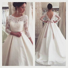 2016New Vintage Long Wedding Dresses Gorgeous Lace Bridal Ball Gowns Custom Made