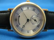 BREGUET 18K SOLID GOLD CLASSIQUE ULTRA THIN MENS MIDSIZE SMALL SECONDS WATCH