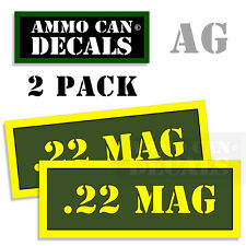 22 MAG Ammo Can Box Decal Sticker bullet ARMY Gun safety Hunting 2 pack AG