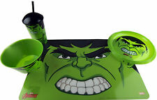 Marvel Avengers HULK 4 Piece Child's Dinner Set - Plate, Place Mat, Bowl, Cup