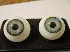 24 mm Gray Vintage Glasaugen Glass Eyes 14.5 mm Iris W. Germany Doll Mannequin