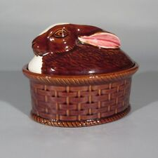 Authentic Portuguese French Market Faience Rabbit Terrine, Signed