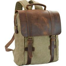 R & R Collections Genuine Leather/Canvas Laptop Business & Laptop Backpack NEW
