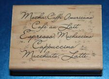 NEW Inkadinkado 'Coffee Menu' Wooden Backed Rubber Stamp 97898DD