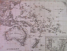 1850s ORIGINAL ANTIQUE Map of Australia G Heck R Schmidt New Zealand