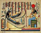 "Egyptian Hand-painted Papyrus Signed: Hathor & Winged Maat 12"" x 9"" Imported"