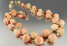 Vintage 50's Multi 2 Strand Orange & Yellow Crystal Glass Bead Necklace