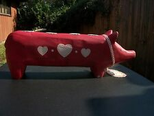 MAILEG Advent Big Red Wooden Pig with Hearts Candle Holder with Original Tag