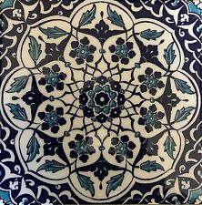 "Set of 25 Turkish Blue & White 8""x8"" Iznik Daisy & Floral Pattern Ceramic Tile"
