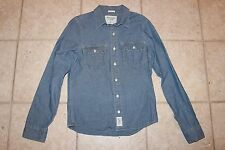 Abercrombie & Fitch Mens Small Muscle Fit Denim Jean LS Button Front Shirt