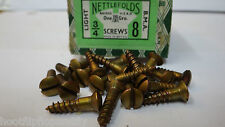 "25 x GKN 3/4"" x 8  BMA ON STEEL SCREWS RAISED HEAD SLOT nettlefolds screws bma"