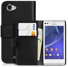 Black Wallet Flip Leather Case Cover For Sony Xperia L C2104 C2105