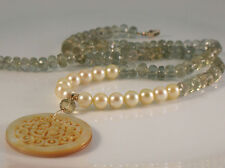 "Moss Aquamarine Golden Akoya Carved South Sea Pearl Shell Necklace 16.5"" 14k"
