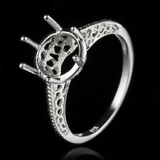 8.5-9mm Round Semi Mount Sterling Silver 925 Plate White Gold Fine Ring Setting