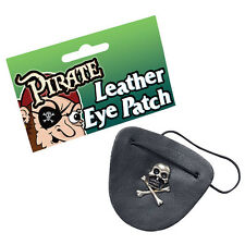 PIRATE COOL #SKULL METAL LEATHER LOOK EYEPATCH  FANCY DRESS ACCESSORY