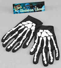 Skeleton Bone Print Black and White Gloves Halloween Fancy Dress Costume