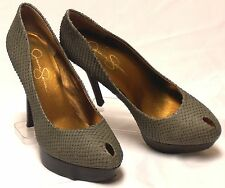 JESSICA SIMPSON Brook Size 7 M Grey-Green Snake-Emboss Leather X-High Heel Pumps
