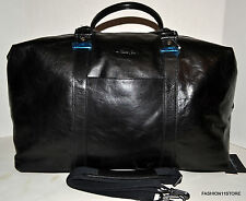 Kenneth Cole Black Men Leather Duffle Gym Traveler Crossbody Handbag MSRP$425.00