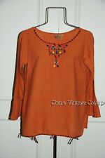 S.A.L.E...VTG Embroidered & Buttons Raw Cotton AMERICAN INDIAN 70s HIPPIE Top