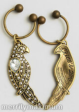 Chico's Signed Antique Gold Tone Key Fob Necklace Pendant Parrot Bird Crystal