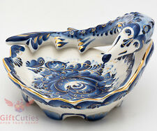 Gzhel Porcelain Caviar server bowl holder plate Sturgeon Acipenser Hand painted