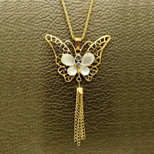 Fashion Gold Butterfly Crystal Sweater chain Charm necklace Pendants DL618