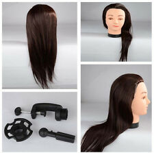 "21"" 40% Real Hair Cutting Styling Hairdressing Mannequin Doll Head With Clamp"