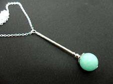 A SILVER PLATED BLUE JADE BEAD PENDANT  NECKLACE. NEW.