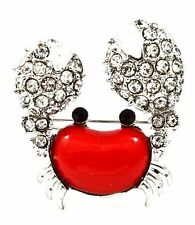 New Silver Tone Pave Clear Crystal Red Enamel Crab Cancer Brooch in Gift Box