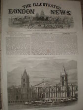 The Cathedral of Arequipa Peru 1868 old print  Ref W1