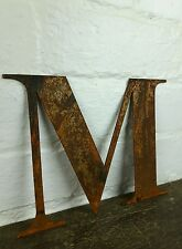 M Rusty Rusted Steel Metal Letter Industrial Sign Garden Decoration Ornament