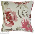 """RASPBERRY RED CREAM COTTON BLEND FLORAL CUSHION COVER 18"""" TO MATCH CURTAINS"""