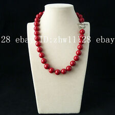 natural AAA+12mm coral red shell pearl fashion necklace 18'' A-55