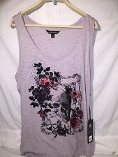 Rock & Republic Women's Gull Gray Skull Roses Sleeveless Tank Top Shirt 1X NWT
