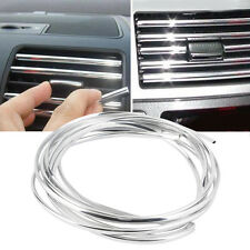 Car Air Condition Bumper Radio Side Vent Grille Switch Chrome Strip Trim Silver