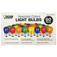 New Feit Indoor Outdoor Party Holiday Light Bulbs Blue Red Green Orange 60 Pack