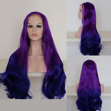 """26"""" End Wavy 2 Tone Blue With Purple Roots Lace Front Wig Heat Resistant"""