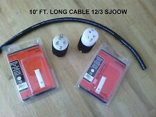 20 Amp Extension Cord DIY Kit: 10' Ft 12/3 SJOOW cable, T-blade Connector + Plug