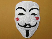 """V Vendetta Anarchy Rebel Fawkes Mask Skull Embroidered Biker Iron On Patch 2.9"""""""