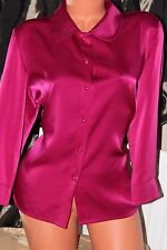 Viyella fuchsia pink  faux satin shirt blouse top size 14