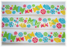 """1"""" CANDYlicious CANDY SHOPPE LOLLIPOP CANDYLAND GROSGRAIN RIBBON 4 HAIRBOW BOW"""