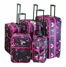 Butterfly Design 5-Piece Expandable Lightweight Rolling Luggage Set
