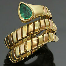 BULGARI Tubogas Emerald 18k Yellow Rose Gold Ring 1980s Size 54