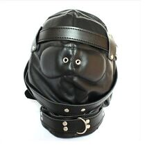 FACE EYES GIMP HOODS HARNESS CLOSE MOUTH LEATHER FULL HOOD MASK BLINDFOLD
