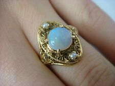 !STRIKING 14K YELLOW GOLD OPAL AND PEARLS HAND MADE ANTIQUE LADIES RING, SIZE 6