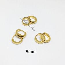 3pairs men's Gold/silver/black Hip hop Stainless Steel Hoop Earrings 9mm